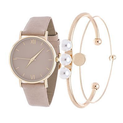 Montre pour femme : Fortune NYC Arm Candy Ladies Fashion Gold Case / Beige Leather Strap Watch with a Set of 2 Bracelets Overstock.com Shopping The Best Deals on More Brands Womens Watches