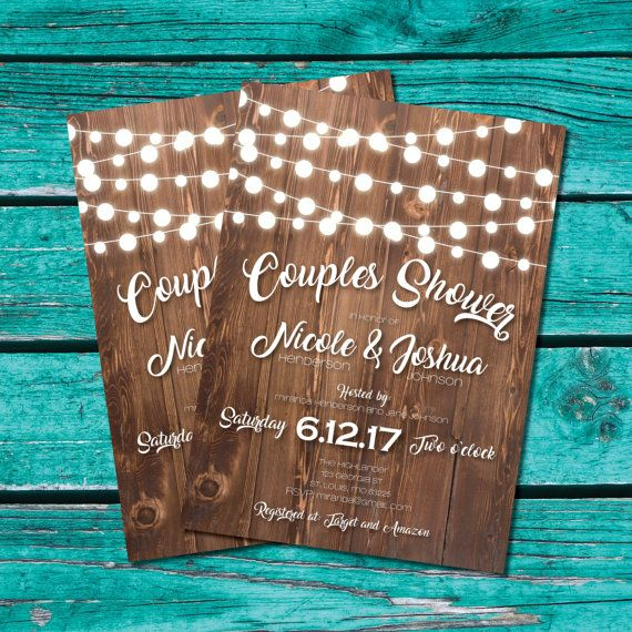 Couple Shower Invitation, bridal shower invite, rustic shower, country wedding, string lights,  Printable invitation, instant download