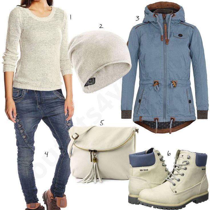 Damenoutfit in Creme und Blau mit Only Strickpullover, Slouch-Beanie, Naketano Übergangsjacke, Mozzaar Jeans, modamoda Tasche und Tom Tailor Boots. #boots #modamoda #jeans #strickpullover #outfit #style #fashion #womensfashion #womensstyle #womenswear #clothing #frauenmode #damenmode #handtasche #inspiration #frauenoutfit #damenoutfit