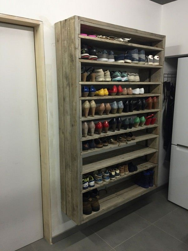 shoe rack from pallets and planks roughly sanded brushed and gray wash black color shoe rack storage sliding