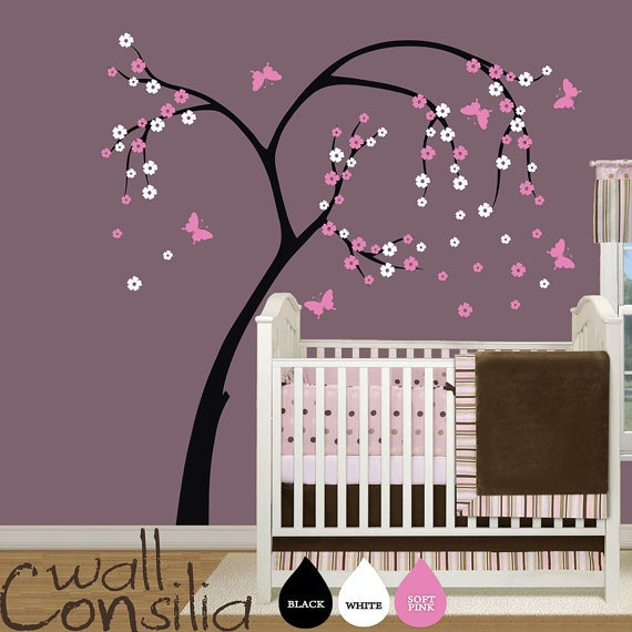 Items similar to baby nursery tree wall decal blossom tree with butterflies wall decal cherry blossom tree wall sticker x on etsy