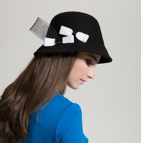 British fashion bow black bowler hat for lady elegant wool bucket hats winter