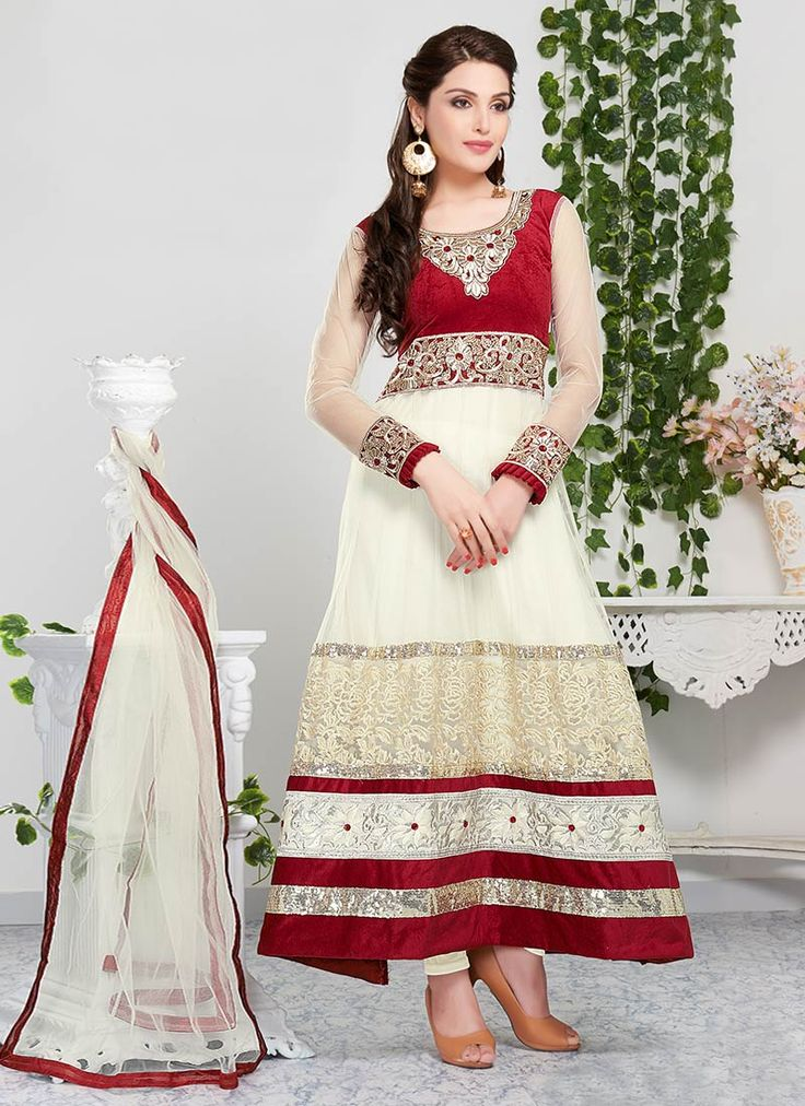 Cream Net #Anarkali #Suit