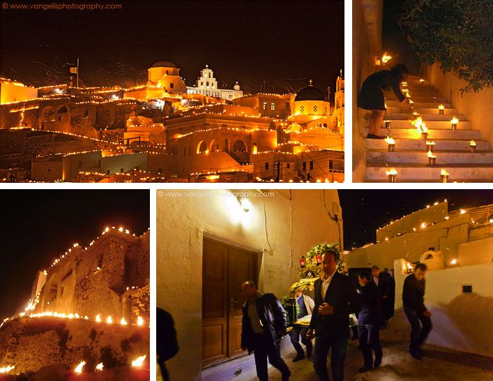 "Easter ""Great"" Friday at Pyrgos village. Thousands of aluminium cans stuffed with flammable materials, placed on the roofs and everywhere around the village and the Venetian castle are lit up, creating an evocative and thrilling atmosphere with a highly spiritual ambience."