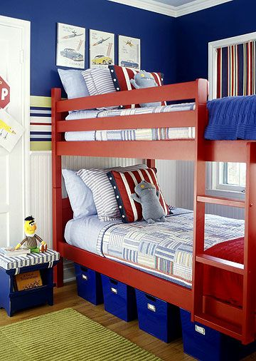 A Scheme to Grow  The toughest task when it comes to creating a cozy kids room is choosing a theme and a color scheme that will last for many years to come. This bold room, in primary colors, meets the challenge with its vintage cars and planes theme.
