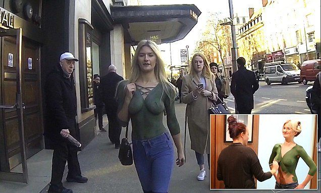 Model Walks Down A Busy Street Wearing Nothing... Nobody Notices Her!