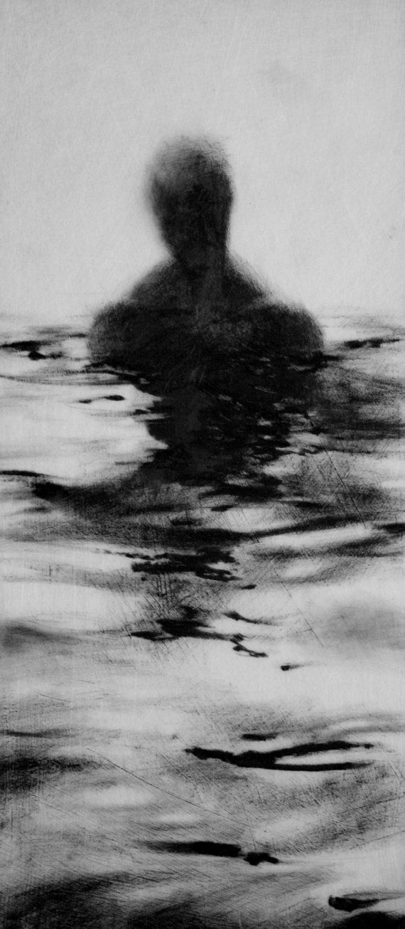Haunting Figure Drawing Gothic Moody Dark Shadow Crayon Wading Water Fog Fine Art Wander V