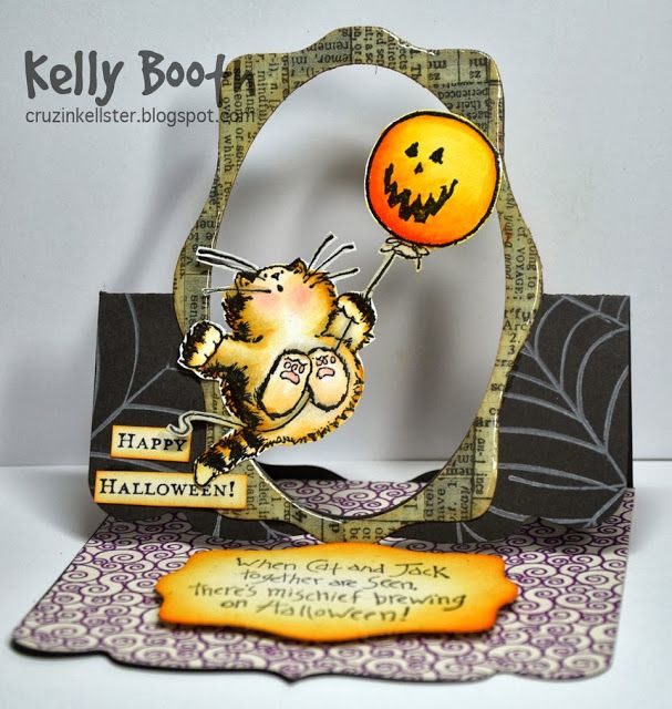 Flying Easel Card by Kelly Booth using Pop 'n Cuts Square Base plus Wavy Labels Framelits - Lovin The Life I Color: A Halloween Card for my Lil Cat Lover....