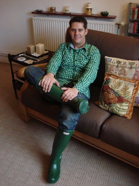matching shirt  u0026 wellies  this guy must have a fetish for the colour green