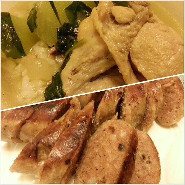 #晩ごはん さっぱり#スープ と#ハンガリアン#ソーセージ #tinolangmanok and # hungarian #sausage for #yummy #dinner #filipino#food#chicken#soup#philippines#フィリピン
