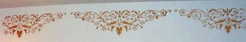 Our Raised Plaster Canterbury Frieze Stencil, with it's ornate detailing and tiny flowers make the most breathtaking repeated border! Turn it upside down and put the straight edge against the ceiling!