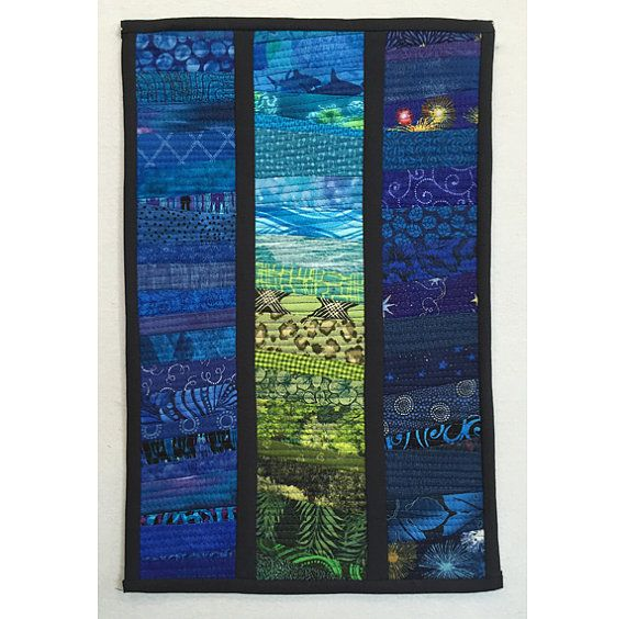 Small quilted landscape. Abstract textile art. by AnnBrauer