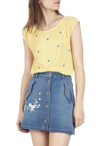 Tee-shirt brodé ananas Mickey Jaune by GRACE ET MILA