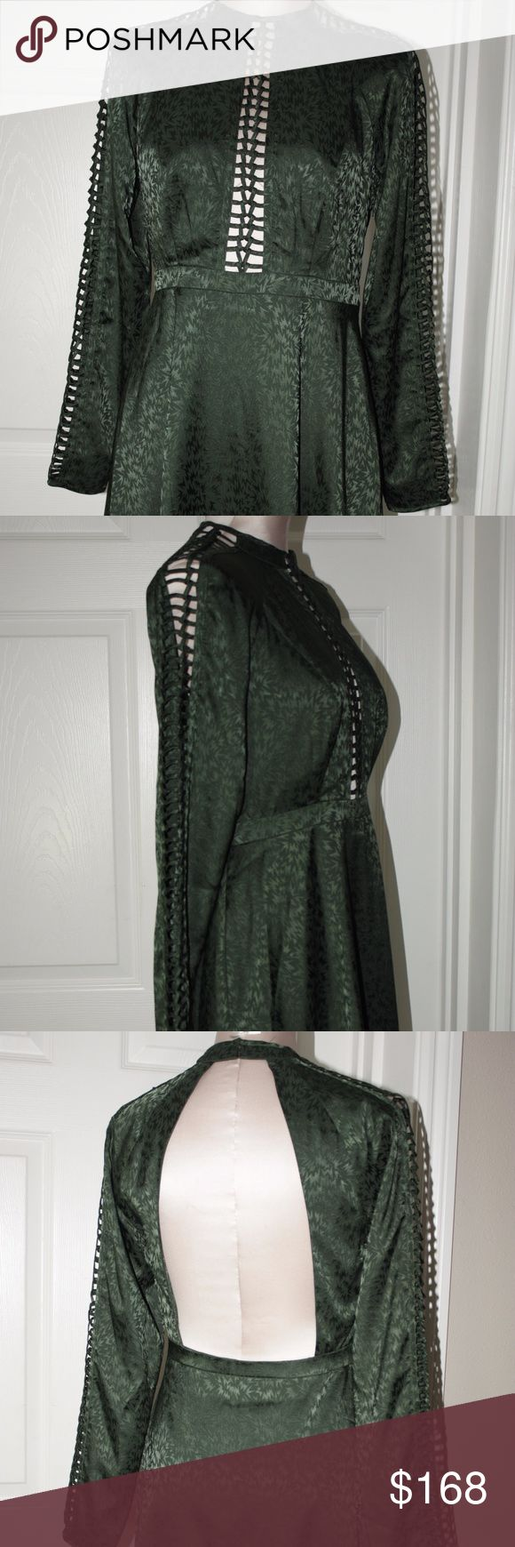 Free People Emerald Green Cutout Back Boho Chic 6 Up for sale New without tags Free People Emerald Green Cutout Front and Sleeves. Dress has large back cutout.Dress is empire style.Super Cute cocktail/party/date. Very Boho Chic  Size 6 Free People Dresses Mini