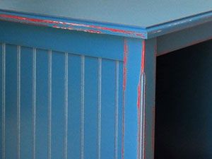 Royal Blue Paint Applied Over Red For Aged And Distressed Look From Painted  Furniture Barn