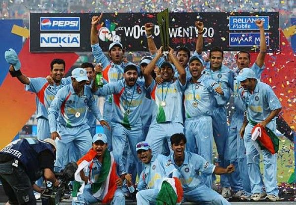 Indian Cricket team celebrates after winning 2007 T20 Cricket world cup.