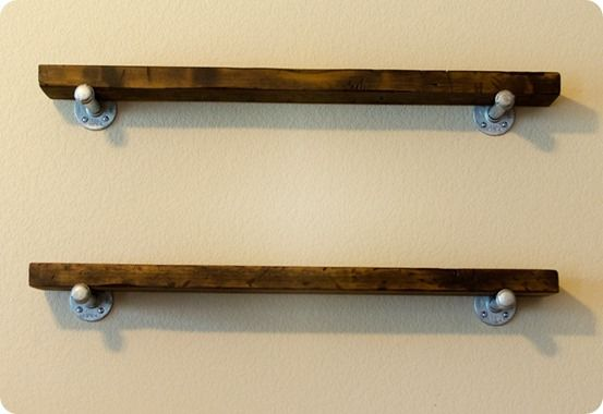 """Restoration Hardware inspired """"reclaimed"""" wood and metal wall shelves"""