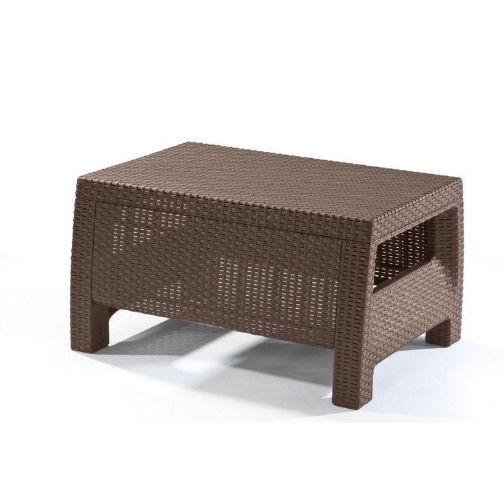 Keter Corfu Brown Modern All Weather Outdoor Patio Garden Backyard Coffee Table Furniture