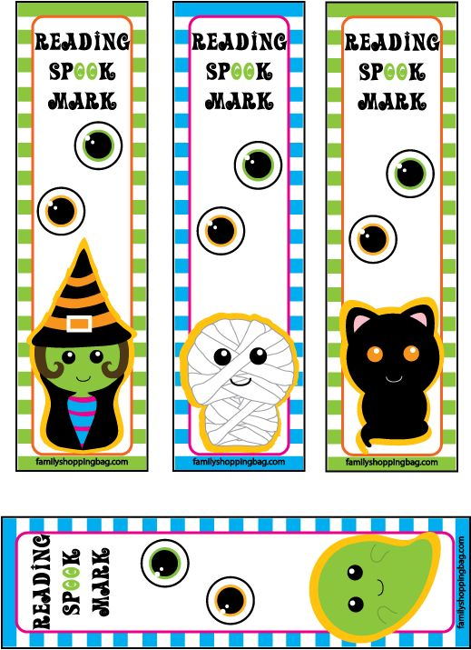 FREE HALLOWEEN BOOKMARK DOWNLOAD~ Cute Witch, Mummy, Cat, And Ghoul Designs.