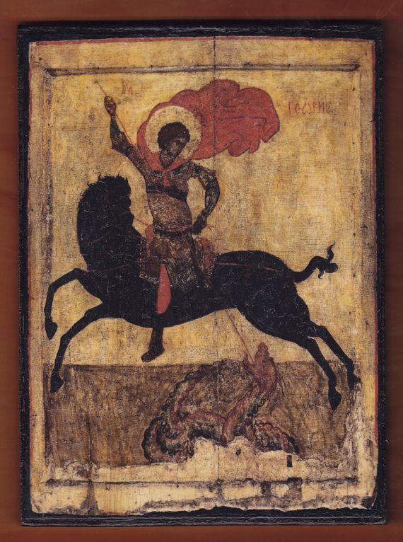 St.George οn a black horse Byzantine icon.FREE SHIPPING