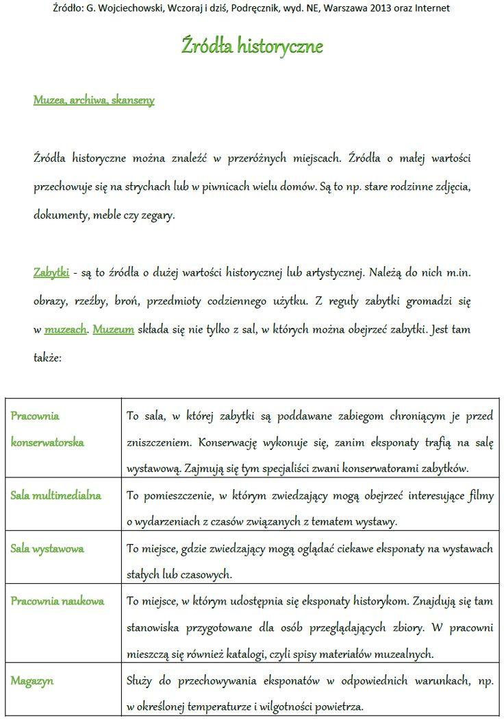 HISTORIA Kl. IV - Źródła historyczne | BLOG EDUKACYJNY DLA DZIECI