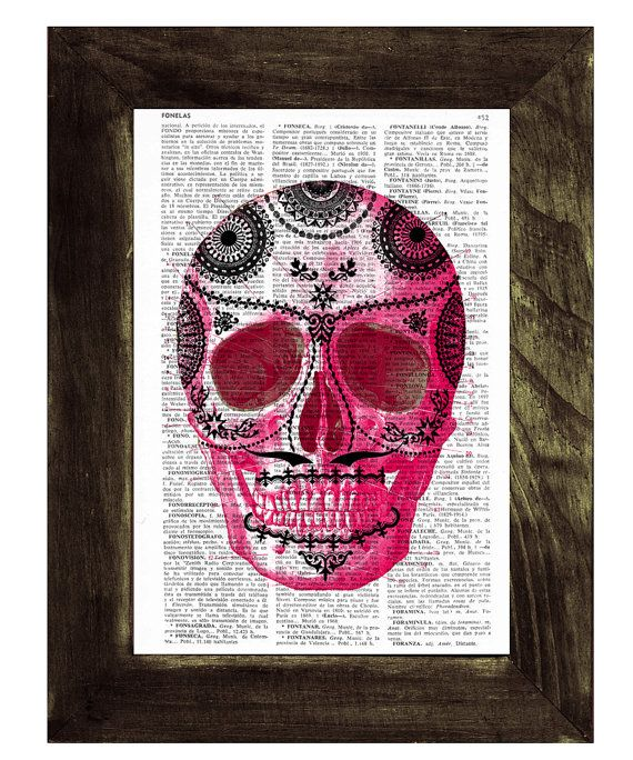 Hot Pink Mexican Skull book print  Dia de los muertos by PRRINT, $7.99