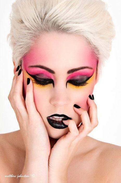 Punk rock makeup, black lipstick, black nail polish