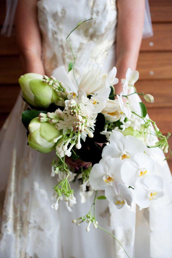 lotus, tuberose, frangipani, stephanotis, garden roses, banana flowers, bougainvillea petals and orchids