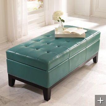 Organize your home.  Great storage in ottomans! This one Lauren Storage Ottoman  $399.00.  Also can be found at Target and WalMart.