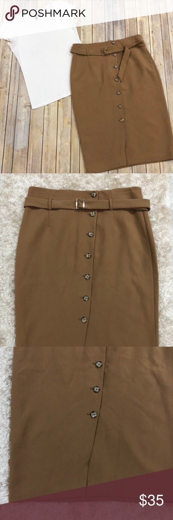 """WHBM camel Brown pencil skirt 14 Gorgeous pencil skirt with small front slit - built in belt -back zipper - versatile can be dressed up or down  High Waist: 17"""" Length: 29"""" Hip: 21.5"""" Please let me know if you have any questions White House Black Market Skirts Pencil"""