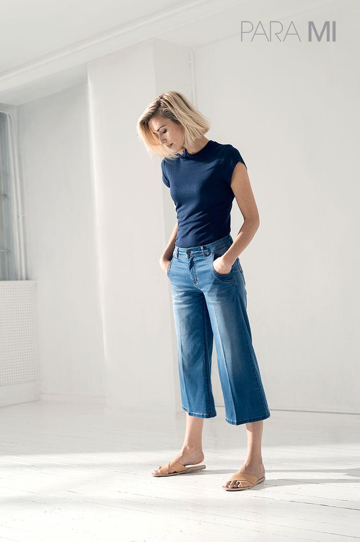 Carla | Satin Denim | Used Blue Light | Para Mi | Fashion