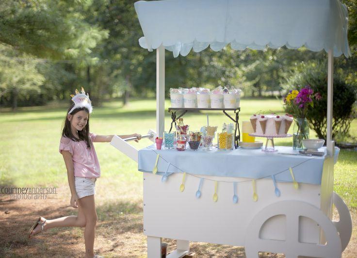 Adorable Ice Cream Birthday Party complete with {DIY} Ice Cream Cart