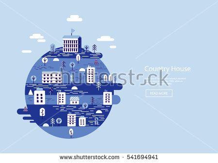 Vector landscape colorful  illustration on blue background