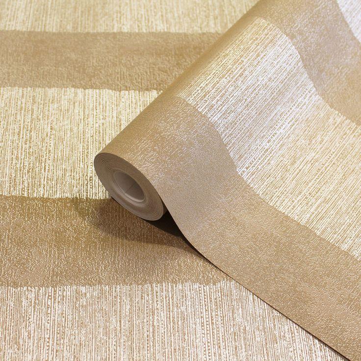 Traces Stripe Bold Brown Striped Wallpaper