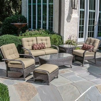 Alfresco Home North Mowing Collection   Outdoor Wicker Furniture   6 Piece  Love Seat Conversation Set