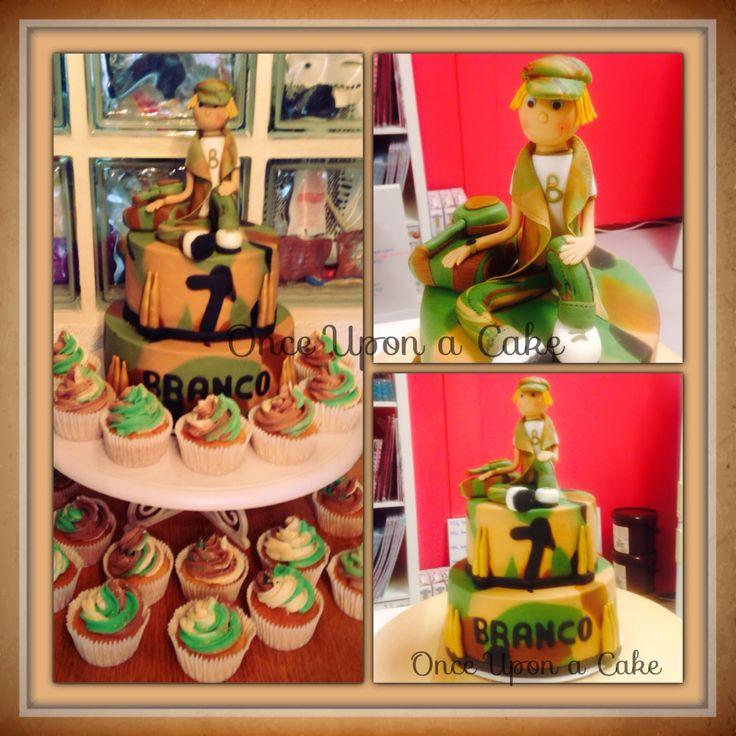 Camouflage taart/cake met soldaatje voor birthday boy Branco