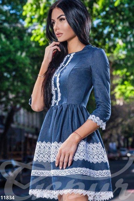 Элегантное джинсовое платье 11834 фото 2