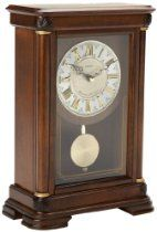 Seiko Mantel Chime with Pendulum Clock Brown Alder Case Ornamental Dial