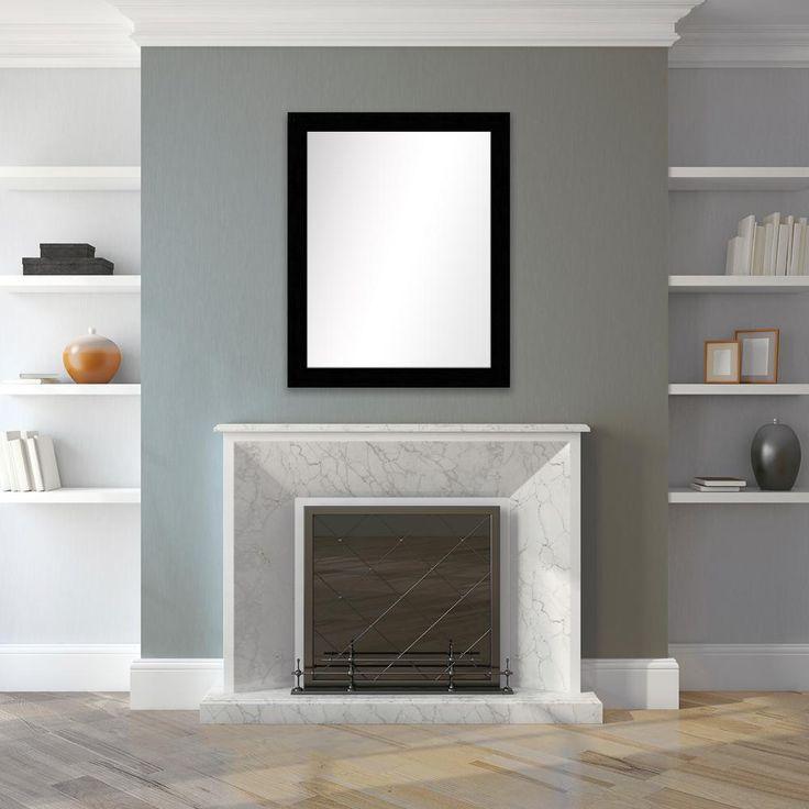 wood grain black framed mirror