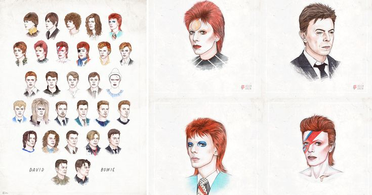 To celebrate his 68th birthday last week, illustrator Helen Green created an animated gif of every one of David Bowie's hairstyles from 1964-2014. Both the black and white and color stills of all 29 frames are avaiable as a print through Society6. (via Kottke)