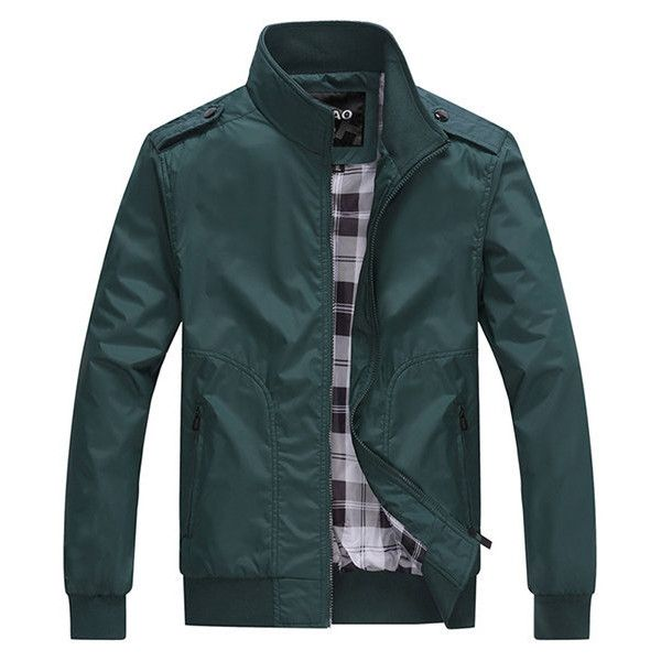Casual Outdoor Epaulet Polyester Thin Jacket Slim Fit Stand Collar... ($33) ❤ liked on Polyvore featuring men's fashion, men's clothing, men's outerwear, men's coats, mens sports coat, mens slim fit coat, mens fur collar coat, mens sport coats and mens slim fit sport coats