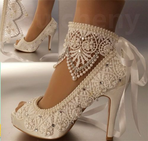 su.cheny 3″ 4″ heel satin white ivory lace anklet open toe Wedding Bridal shoes