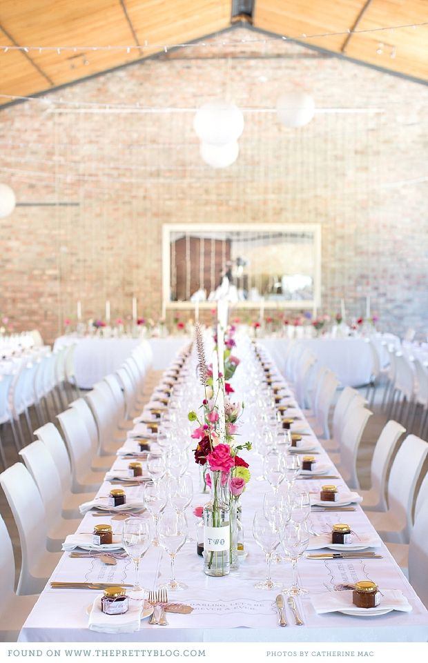 Long tables with pink  blue table decor | Photography: Catherine Mac, Venue: Rockhaven