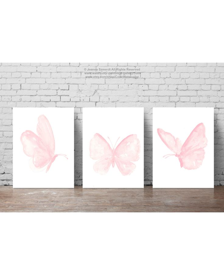 Baby Pink Butterfly Paintings, Set of 3 Butterflies Art Print Gift Idea. Girls Nursery Light Pink Room Decor Shabby Chic Watercolor Painting by ColorWatercolor on Etsy https://www.etsy.com/listing/292809919/baby-pink-butterfly-paintings-set-of-3