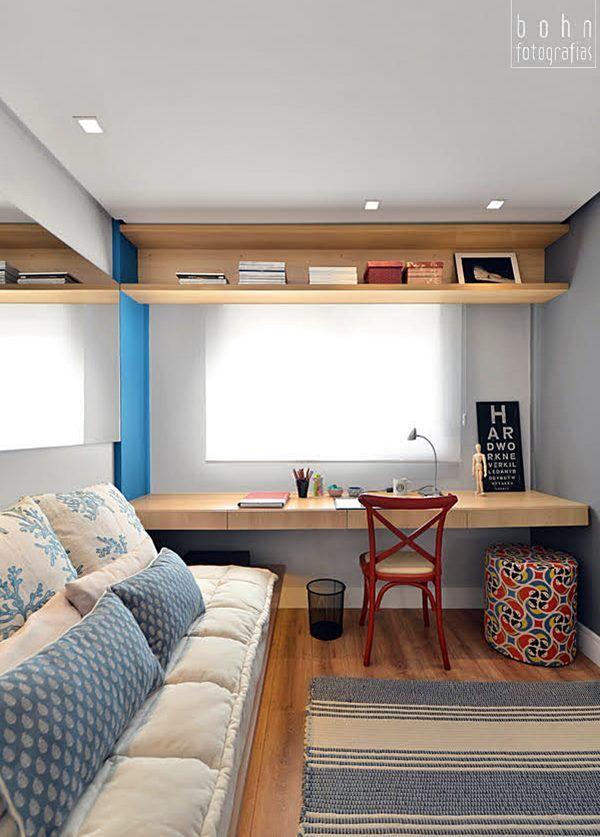 Seja pequeno ou grande,para filho adolescente ou hóspede,um quarto multifuncional, ótimo para dormir e também como home-office é uma benção! Vamos ver algumas ideias legais ?