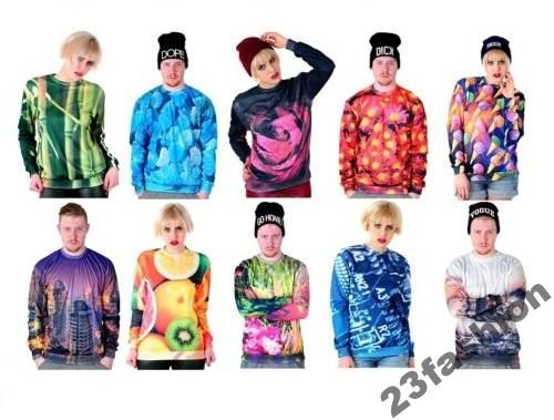 Bluza 3D Fullprint Nadruk Oversize Hipster L HIT