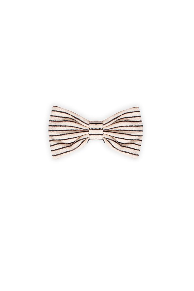 Big bow from Ruby Tuesday. Macademia beige with black stripes. Made of soft linen with a safety-pin at back to attach it to a garment.