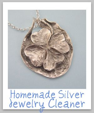 Your silver jewelry can get dirty both from tarnish and also from the oil, dirt and makeup which can accumulate on it while you are wearing it.    homemade silver jewelry cleaner  Keep your silver jewelry clean with this simple natural silver jewelry cleaner recipe.