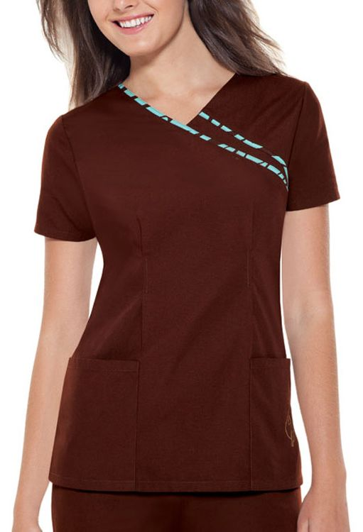 Check out that piping at the neck that makes this top so unique. Baby Phat by Cherokee Women's V-Neck Solid Top - 60% Cotton, 40% Polyester #Scrubs #Baby_Phat | allheart.com