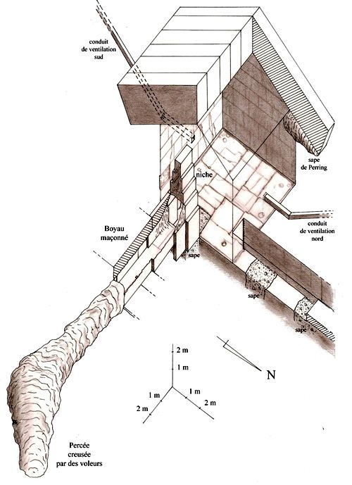 Plan of the Queen's Chamber in the Great Pyramid with the excavation in the niche.